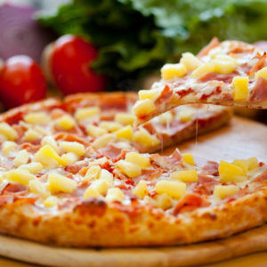 Canadian bacon, pineapple and mozzarella cheese